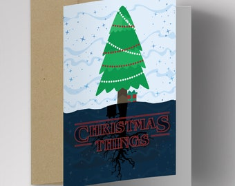 Stranger Things Christmas Card, Stranger Things Upside Down, Funny Christmas Cards, Handmade, Christmas Card Boyfriend, Girlfriend, Friend