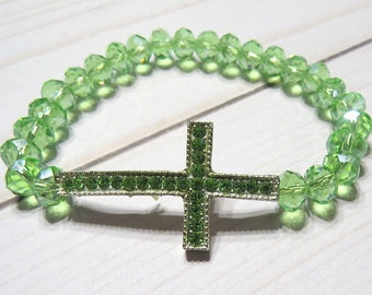 Green crystal bead silver green rhinestone cross stretch bracelet, Saint Patrick's day gift