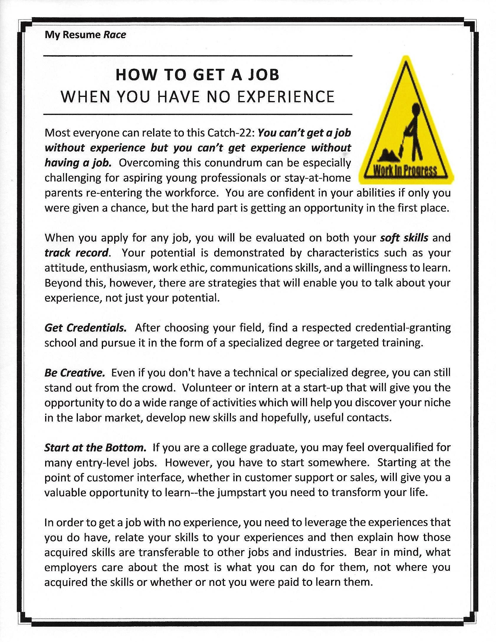How To Make Your Resume Stand Out With No Experience Images - free ...