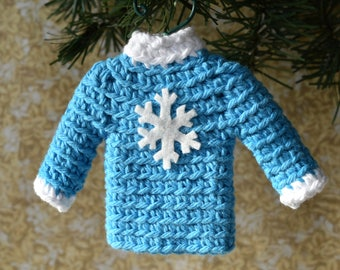 Tiny Sweater Christmas Ornament, Blue Miniature Crocheted Sweater Ornament, Blue and White with Snowflake, Ugly Christmas Sweater Ornament