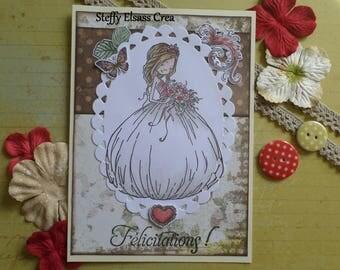 Wedding girl brown red wedding congratulations card