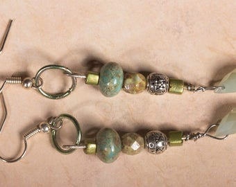 Pale green and silver learrings