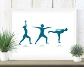 Yoga Warrior Pose Print in Teal | Virabhadrasana 1, 2 & 3 | Yoga Pose Print