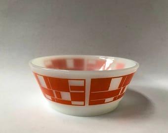 Vintage Fire King Orange geometric cereal bowl