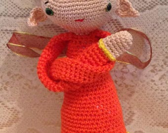 large brightly coloured crocheted Elf