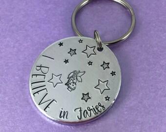 I believe in fairies keyring fairy gift hand stamped aluminium
