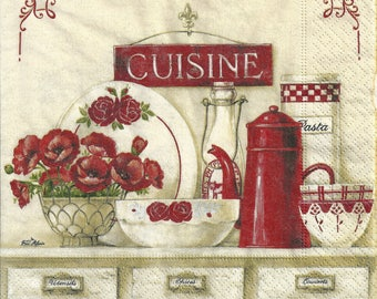 Decoupage Paper Napkins Vintage Style Cuisine, Food (1x Napkin) - ideal for Decoupage, Collage, Mixed Media, Crafts
