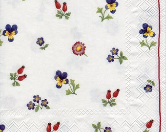 Decoupage Paper Napkins Petit Fleurs, Flowers, Floral, Red Border (1x Napkin) Ideal for Decoupage, Collage, Mixed Media, Crafts