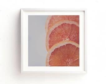 grapefruit print, citrus photos, food photography, kitchen printable, nursery decor, instant wall art, orange home decor, cafe art