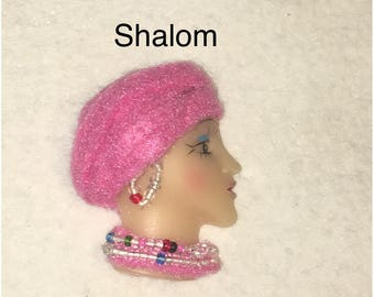 Shalom,Lady Face Pin