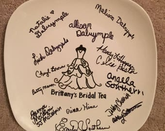 Personalized Wedding Plate; Guestbook Platter; Guestbook Alternative; Personalized Wedding; Shower Gift; Bridal Shower; Wedding Keepsake
