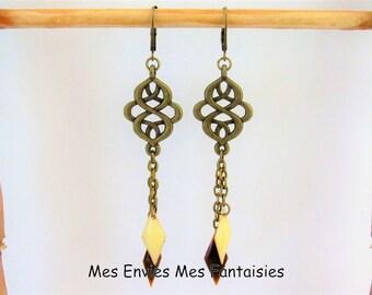 Earrings Bohemian ღ ღ Double sequins Rhombus Beige / Brown ღ Bronze