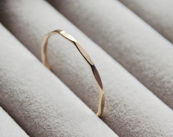 Faceted Ring | Gold Filled Ring | Dainty Ring | Stacking Rings | Gifts For Her | Minimalist Jewellery | Hammered Ring | Geometric Ring
