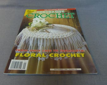 Decorative Crochet Magazine, Sept. 1996 No. 53, Thread Crochet, Home Decor, Tablecloths, Bedspreads, Doilies, Curtain, Popcorn Crochet