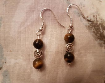 Tigers Eye Swirl drop earrings, Sterling silver, gemstone