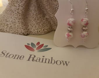 Vintage style porcelain Rose and Sterling silver earrings
