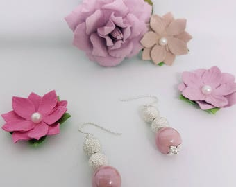 Dusky pink porcelain and silver sparkle earrings