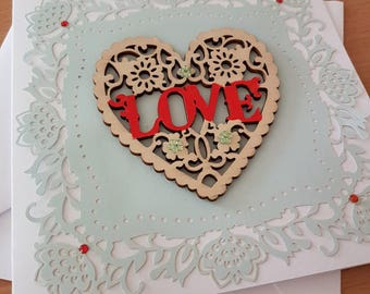 Love Heart Card, wooden heart , I love you,