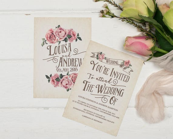 Ivory Rustic Rose Wedding Invitation Set Sample