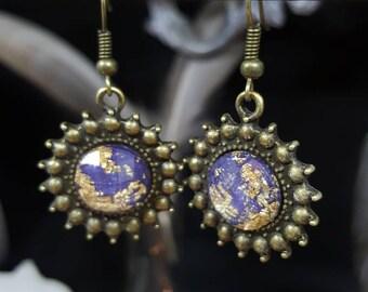Earrings - cabochon - Sunshine Gold - glitter - romantic - boho - Sun - louis XIV - Sun King - versailles - Valentine's day