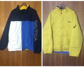 Nautica Reversible Puffer Jacket Vintage Men's XXL yellow / white / light blue / navy blue