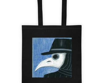 Plague Doctor Tote Bag / Plague Doctor Mask / Bubonic Plague Tote Bag / Black Death Tote Bag / Gothic Tote Bag / Plague Doctor Art / Gothic