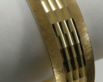 Vintage large chased  gold tone metal bangle, vintage large chased bracelet