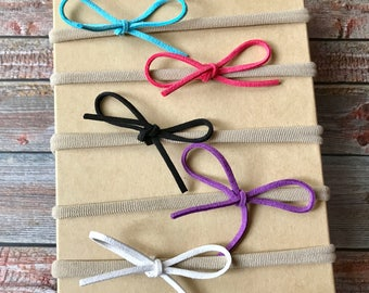 CLEARANCE Baby Headband Set, Baby Headband, Small Bows, Baby Bows, Newborn Headbands, Nylon Headbands, Tiny Bow, Baby Hair Bow, Bow Headband