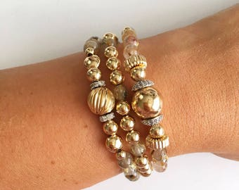 Rutilated Quartz Gold Stackable Bracelets