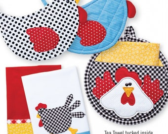 Charming Chickens Potholders and Tea towels by Cynthia Rose for Cotton GInnys