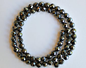 Natural Hematite Faceted Round 6.25mm Loose Beads, Natural Hematite Beads, Semi precious Gemstone Beads, Wholesale Beads, Gemstone Beads