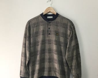 Vintage Lyle & Scott Checkered Jumper/ Lyle and Scott Sweater/Embroidered Logo/Casuals Awaydays/Size M