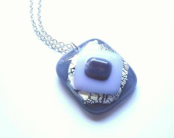 Geometric Pendant, Abstract Art Necklace, Lilac Silver Grey Glass Pendant, Diamond Shaped Necklace, Long Chain Pendant, Fused Glass Jewelry