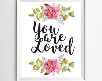 You are loved print watercolor nursery printable Nursery wall print kids wall art Nursery decor inspirational quote