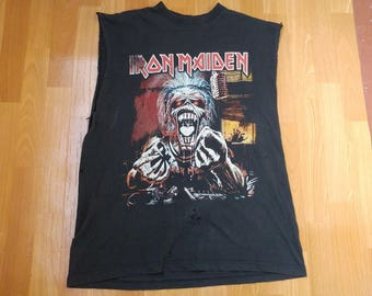 Vintage IRON MAIDEN t-shirt, 90s concert tour shirt, 2 sided, 1990s heavy metal rock, size L