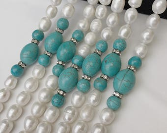 Freshwater Pearl Natural Pearl Cultured Pearl Rice Shape with Turquoise 9-10mm 17'' Per Strand.I-PEA-0287