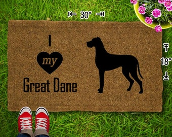 I Love My Great Dane Coir Doormat - 18x30 - Welcome Mat - House Warming - Mud Room - Gift - Custom