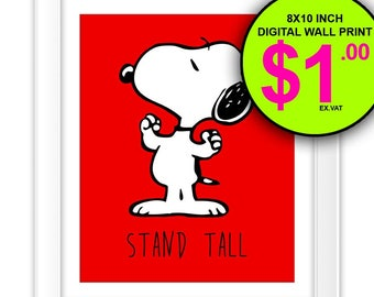 Stand Tall Snoopy Art Print, Black and White, Red, Printable, Snoopy, Cartoon, Quote, Typography, Boys Room, Nursery