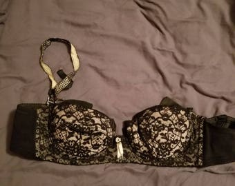 50s vintage black lace convertible bra by lady marlene size 36
