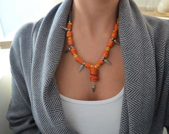 African Red - Orange - Yellow Coral Spiked Necklace, African Moroccan necklace, Ethnic Berber necklace, Bohemian Spiked Coral Choker Jewelry