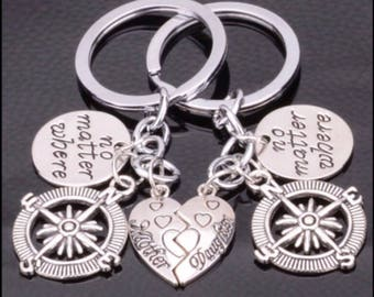 Two Silver Mother & Daughter No Matter Where Compass Keyrings..