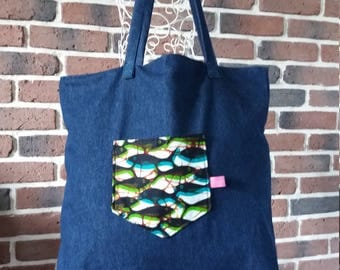 Bag reversible denim women with fish printed fabric