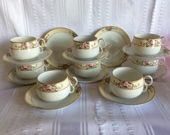 Vintage 1920 Nippon bone china tea cup and saucer roses pattern band