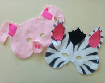 Pig or Zebra Felt mask