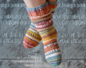 Thick wool Socks 37/38, hand knitted, colourful house socks, gift girlfriend