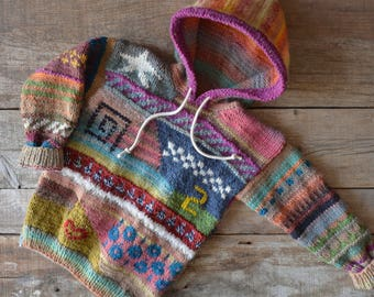 Single piece, colorful children's sweater with hood, 116-122, patchwork