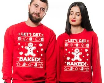 Christmas Couple Matching Unisex Sweatshirts  Christmas Party Matching Unisex Ugly Christmas Sweaters