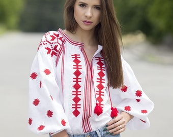 Ukrainian embroidered linen blouse vyshyvanka. Etnic style. Boho blouse. Mexican blouse Free Shipping