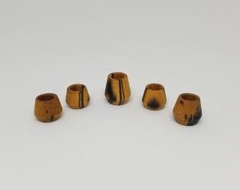 "Dreadlock Beads | Ebony Black & White Wood | 5/16"""