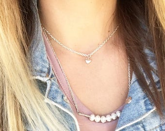 Heart Necklace, Heart Pendant, Charm Necklace, Silver Chain, Heart Choker, Layered Jewelry